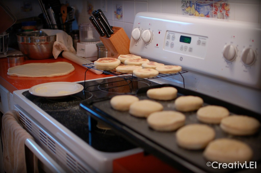 my assembly line for making English muffins