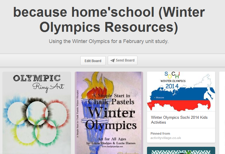 Winter olympics pinboard
