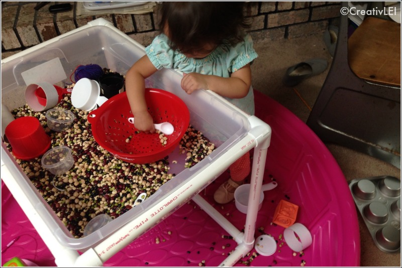 Toddler sensory table in kiddie pool