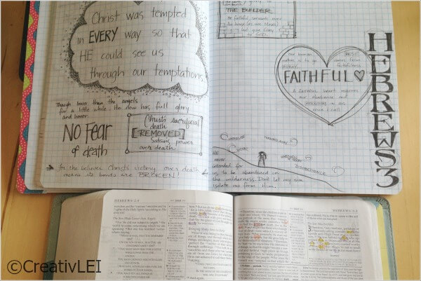 Studying Hebrews in my bible journal