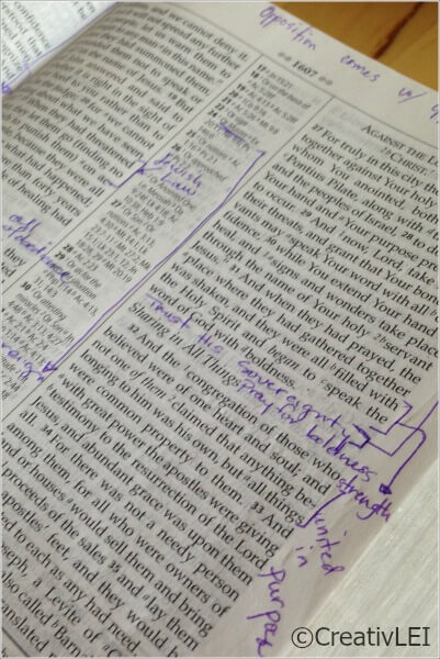 Writing in the margins of my study bible