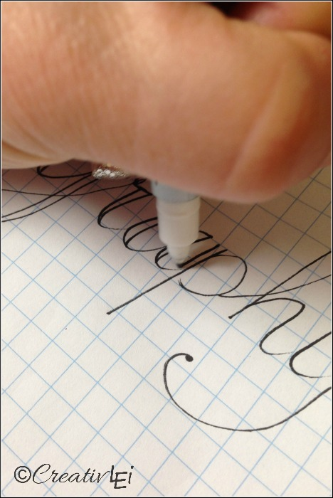 Draw in a second line for all the vertical strokes to achieve a faux calligraphy look. CreativLEI.com