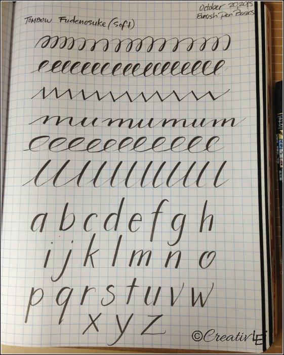 Pen exercises with a brush pen. CreativLEI.com