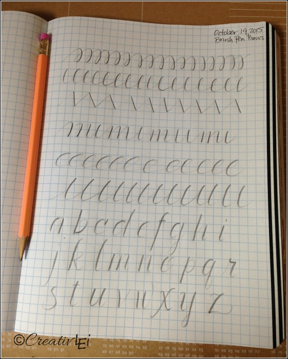 Pencil exercises for brush lettering. CreativLEI.com
