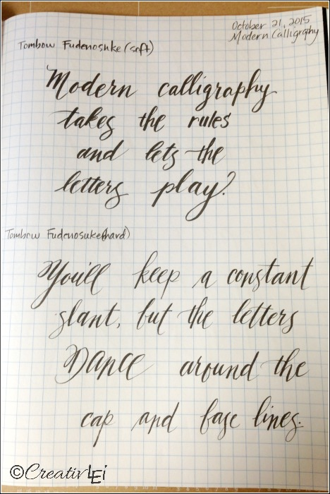 Practicing modern calligraphy with a brush pen. CreativLEI.com