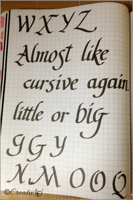 Practicing words in italic calligraphy. CreativLEI.com