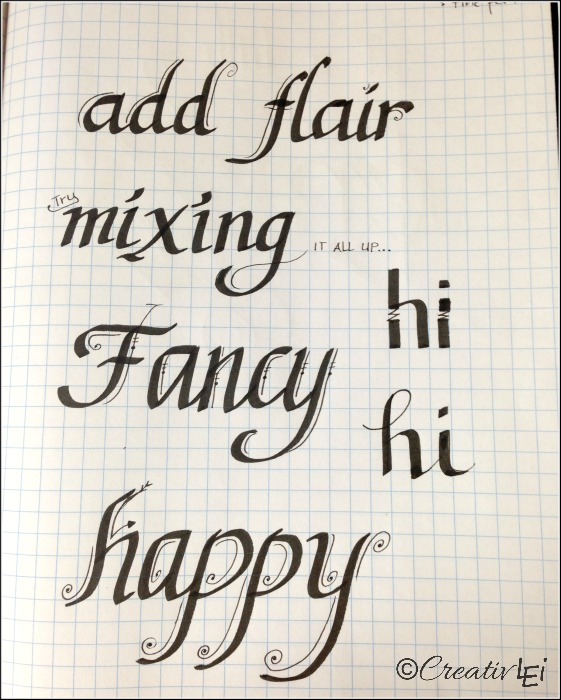 Some examples of mixing fine point and calligraphy pens in creative lettering. CreativLEI.com