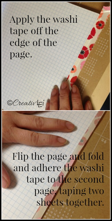 To prevent bleed-through on pages, you can use washi tape to adhere two sheets of paper per page. -CreativLEI.com