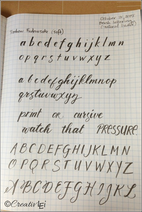 Using a brush pen with natural handwriting. CreativLEI.com