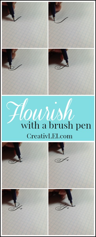 Using a brush pen you can create a capital F with flourish. CreativLEI.com