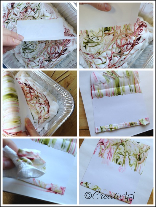 Dip paper or envelopes into your tray of faux marbling. Messy but worthwhile. CreativLEI.com