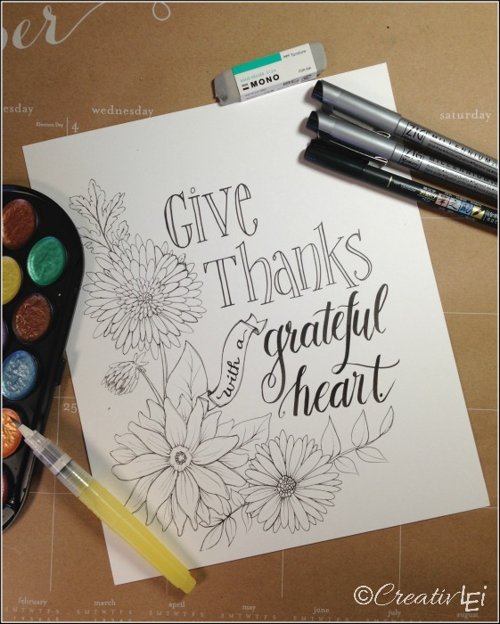 Download a FREE hand-lettered Thanksgiving design from CreativLEI.com