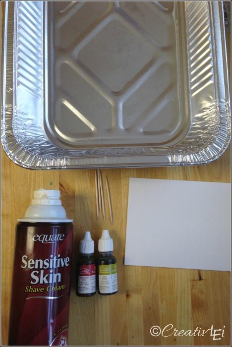 Simple supplies for faux marbled envelopes. CreativLEI.com